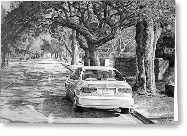 Shaded Boulevard Greeting Card by Christopher Reid