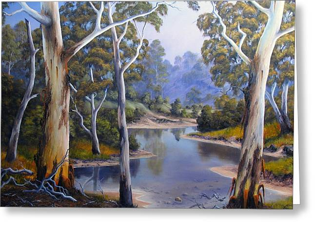 Oil Reliefs Greeting Cards - Shallow River Greeting Card by John Cocoris