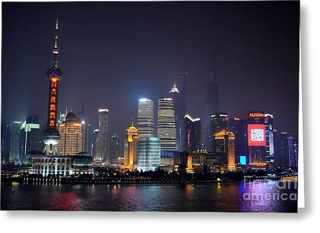 Shanghai China Skyline At Night From Bund Greeting Card