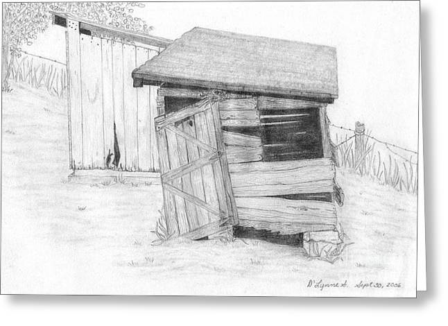 Shed And Wpa Outhouse On Johnson Farm Greeting Card by Tree Whisper Art - DLynneS
