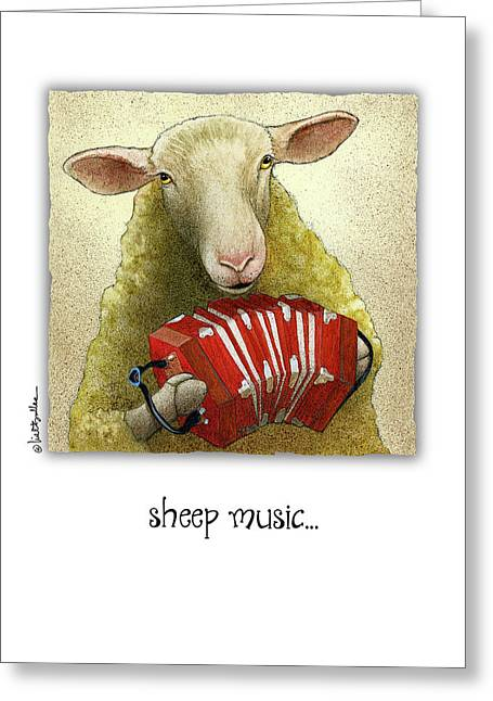 Greeting Card featuring the painting Sheep Music... by Will Bullas
