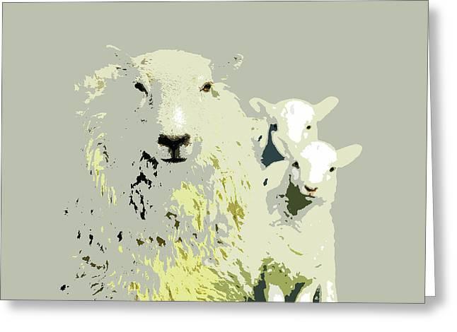 Sheep With Lambs Greeting Card