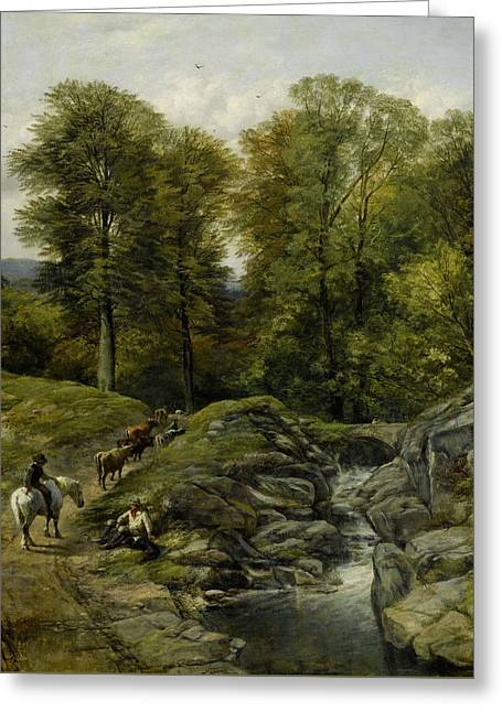 Shepherds Next To A Brook Greeting Card by Thomas Creswick