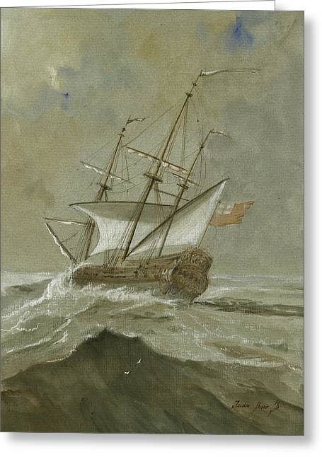Ship At The Storm Greeting Card