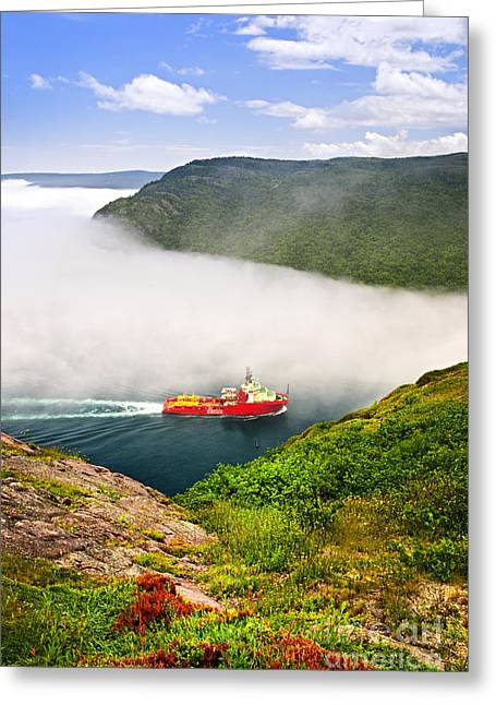 Foggy Ocean Greeting Cards - Ship entering the Narrows of St Johns Greeting Card by Elena Elisseeva