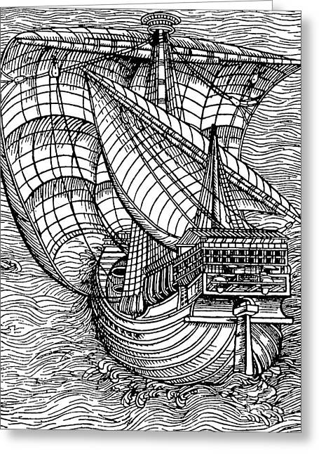 Ship From The Time Of Christopher Columbus Greeting Card