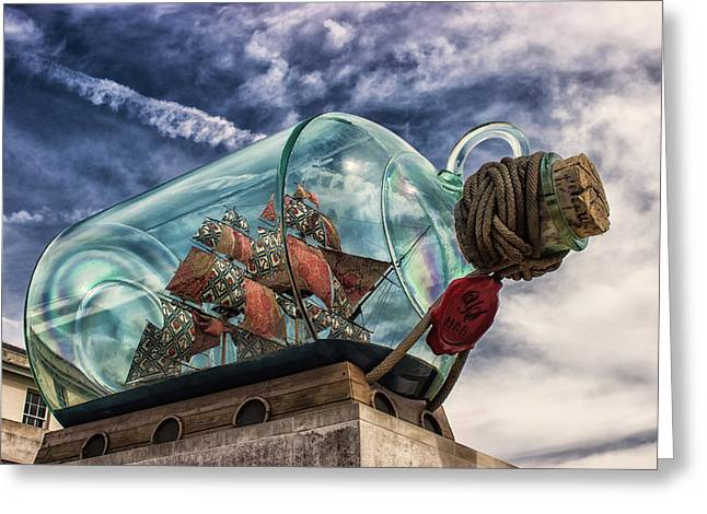 Ship In A Bottle Greeting Card by Martin Newman