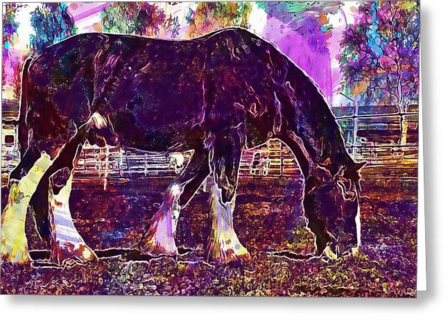 Greeting Card featuring the digital art Shire Horse Horse Coupling  by PixBreak Art