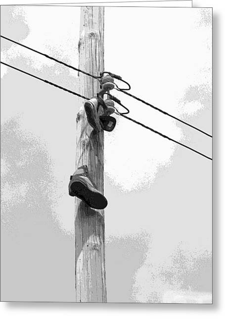 Greeting Card featuring the digital art Shoefiti 2160bw by Brian Gryphon