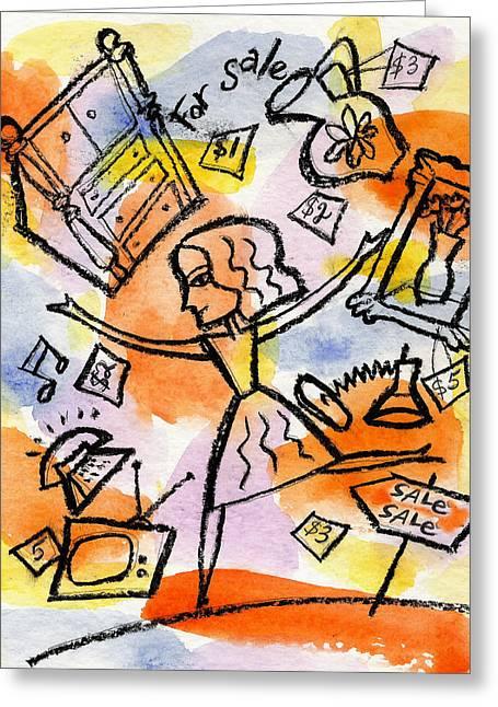 Shopping Greeting Card by Leon Zernitsky