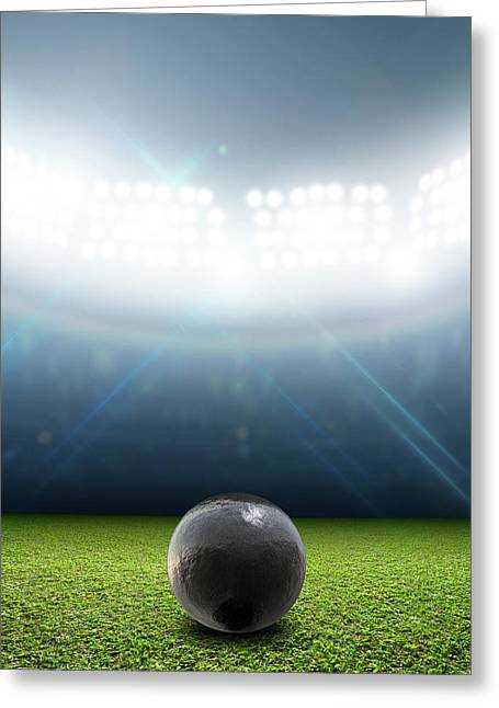 Shotput Ball In Generic Floodlit Stadium Greeting Card by Allan Swart