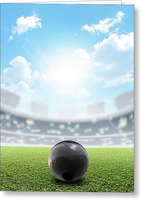 Shotput Ball Stadium And Green Turf Greeting Card by Allan Swart