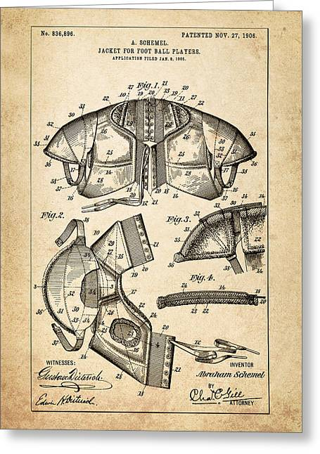 Shoulder Pads Patent - Patent Drawing For The 1905 Jacket For Football Players By A. Schemel Greeting Card by Jose Elias - Sofia Pereira