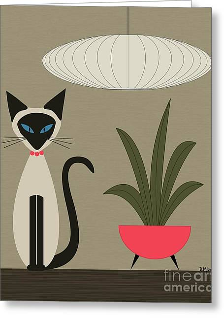 Siamese Cat On Tabletop Greeting Card