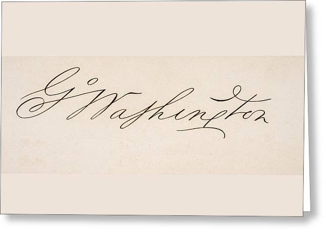 Signature Of George Washington 1732 To Greeting Card by Vintage Design Pics