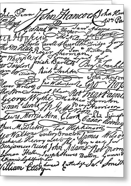 Signatures To The Declaration Of Independence Greeting Card
