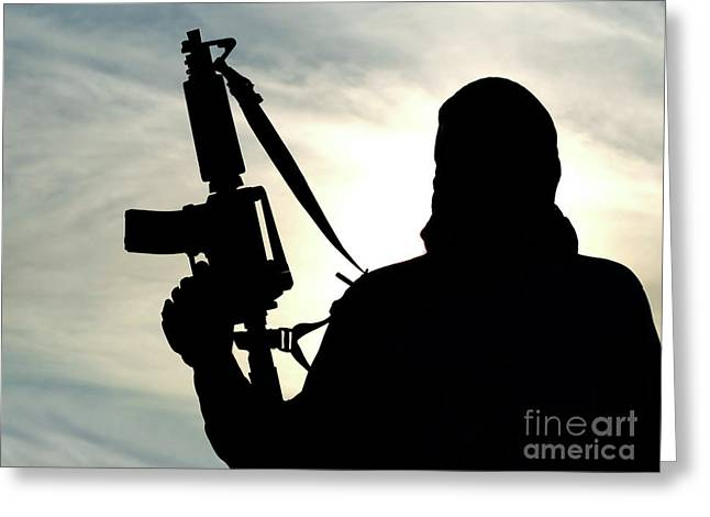 Silhouette Of Soldier Greeting Card by Oleg Zabielin