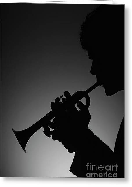 Silhouetted Man Playing Trumpet Greeting Card