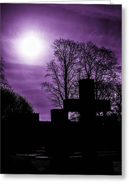 Silhouettes Of Trees And Crosses Greeting Card