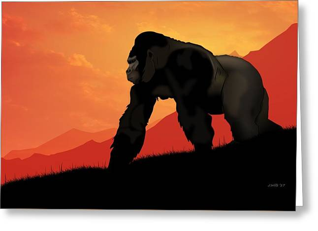 Greeting Card featuring the digital art Silverback Gorilla by John Wills