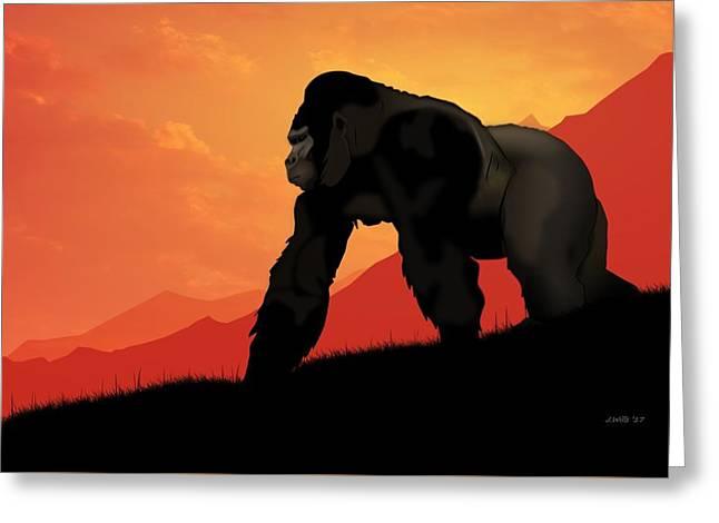 Silverback Gorilla Greeting Card by John Wills