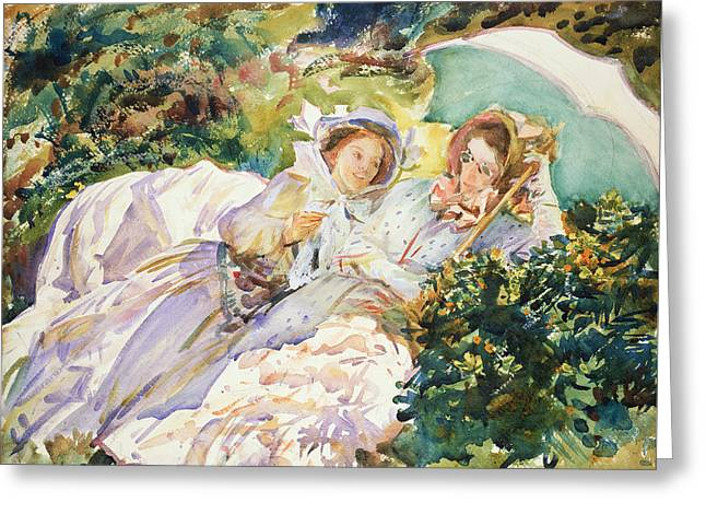 Simplon Pass The Tease Greeting Card by John Singer Sargent