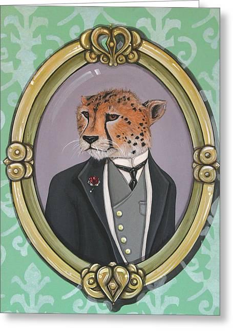 Greeting Card featuring the painting Sir Pettingwise IIi by Jude Labuszewski