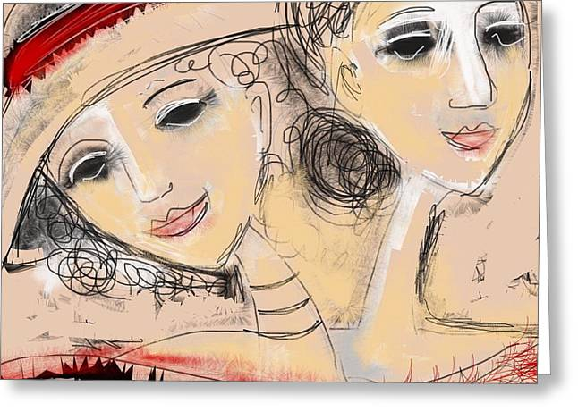 Sisters Greeting Card by Elaine Lanoue