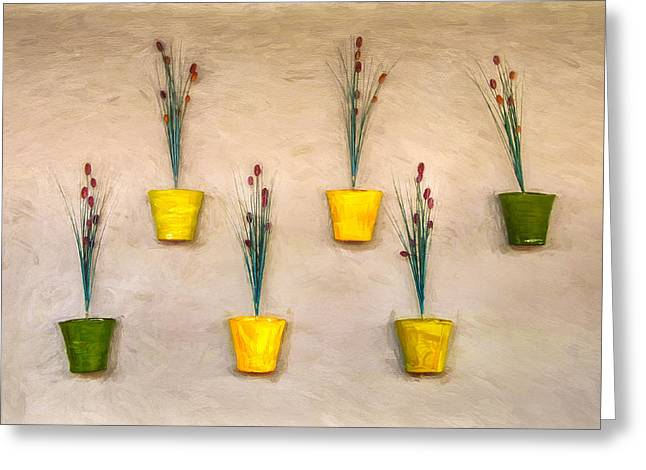 Six Flower Pots On The Wall Greeting Card