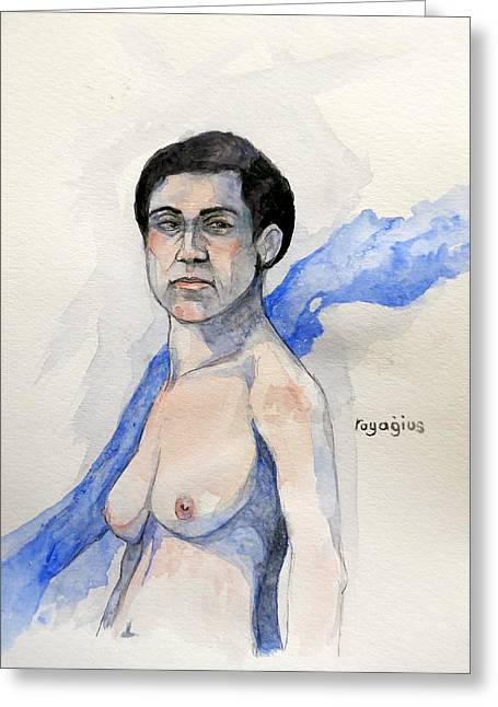 Greeting Card featuring the painting Sketch For Gabrielle by Ray Agius