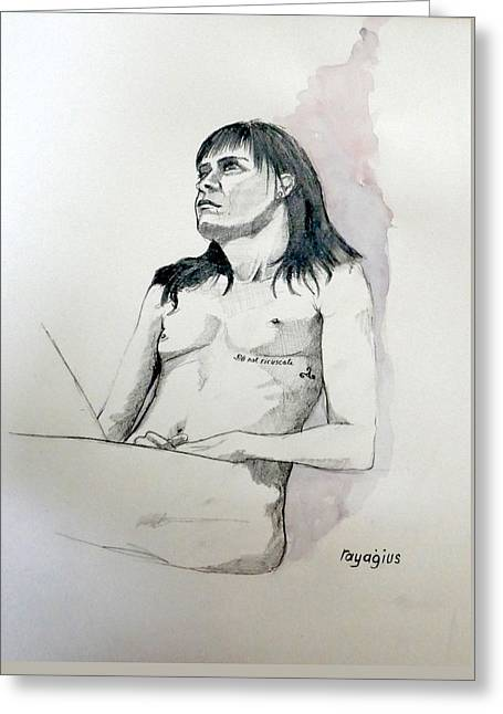 Greeting Card featuring the painting Sketch For White Amber by Ray Agius