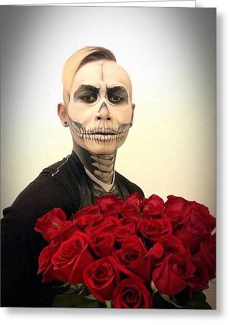 Skull Tux And Roses Greeting Card by Kent Chua