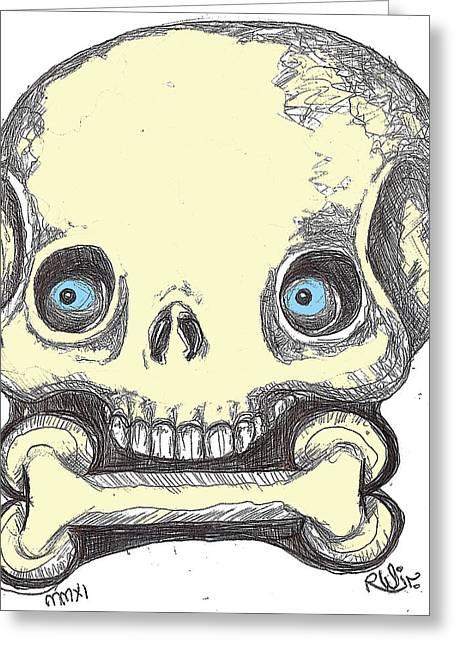 Skullnbone Greeting Card by Robert Wolverton Jr
