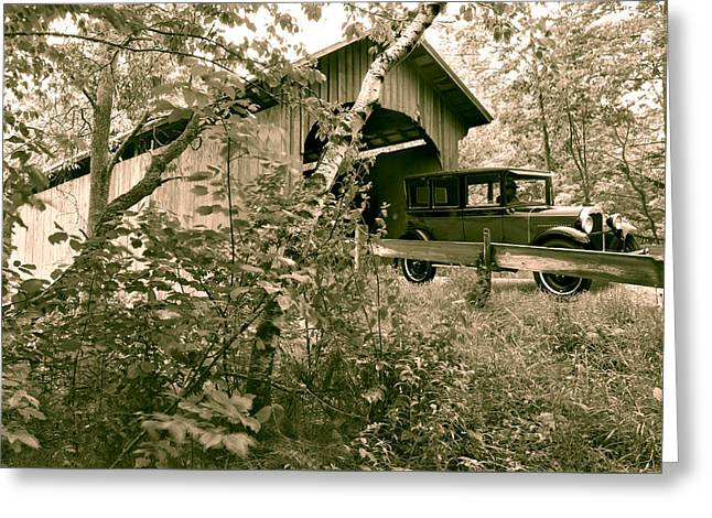 Slaughter House Covered Bridge In Northfield Vermont Greeting Card