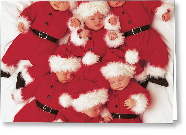 Sleepy Santas Greeting Card by Anne Geddes