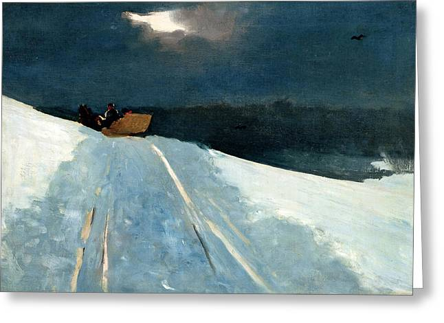 Greeting Card featuring the painting Sleigh Ride by Winslow Homer
