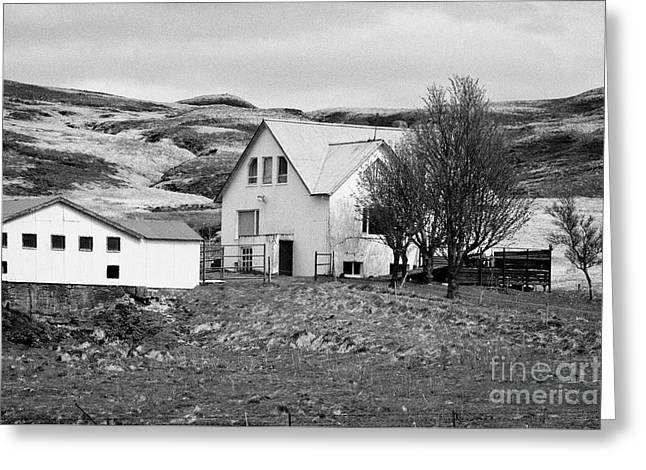 Small Icelandic Farm Homestead Farmhouse With Barn Red Roofed Iceland Greeting Card by Joe Fox
