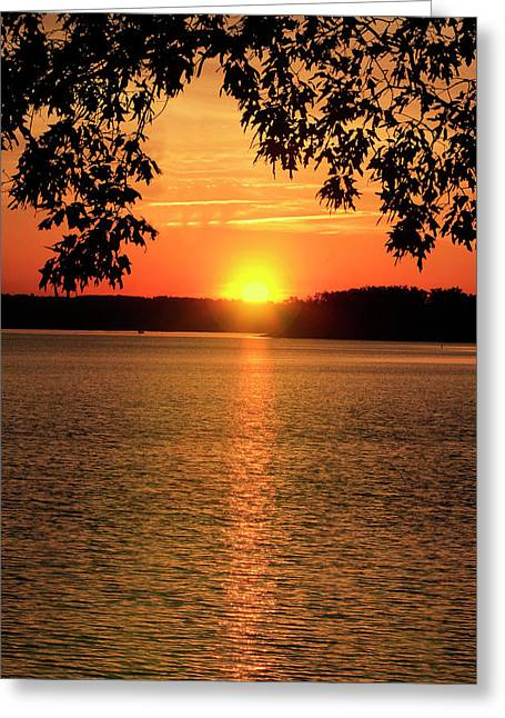 Smith Mountain Lake Silhouette Sunset Greeting Card