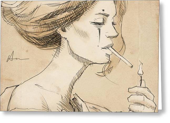 Smoke Break Greeting Card by H James Hoff