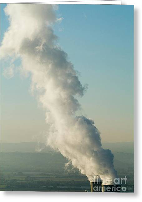 Smoke Emitting From Cooling Towers Of Tricastin Nuclear Power Plant Greeting Card by Sami Sarkis