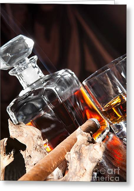 Smoking Cigar And Whiskey In Glass Greeting Card