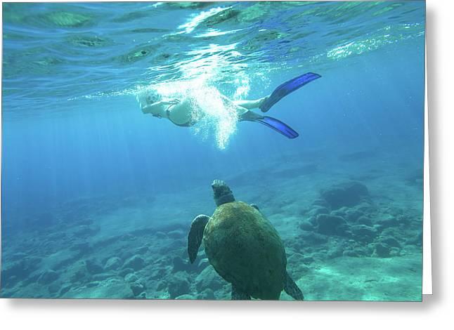 Snorkeler Female Sea Turtle Greeting Card