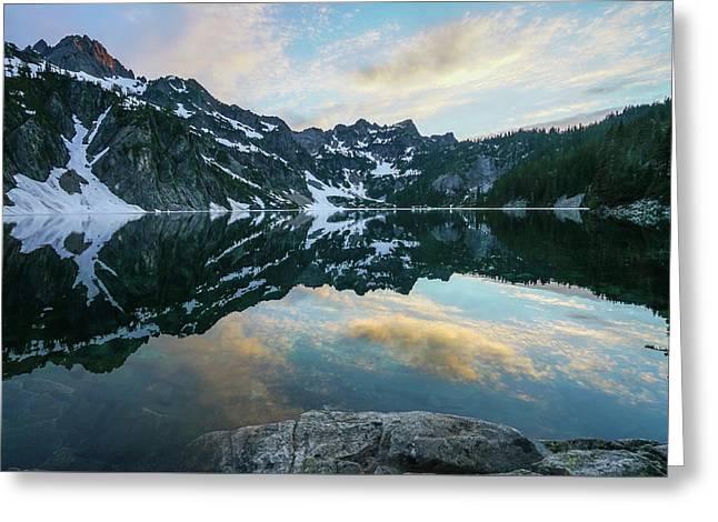 Snow Lake Chair Peak Dusk Reflection Greeting Card by Mike Reid
