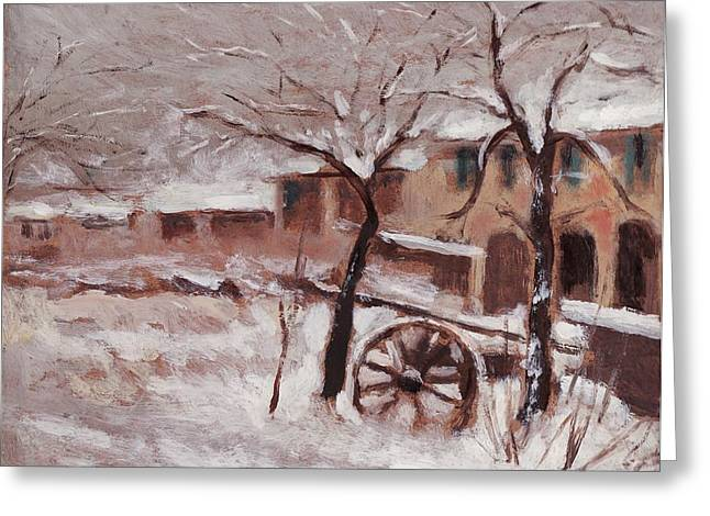 Snow On The Farmhouse Greeting Card by Mario Zampedroni