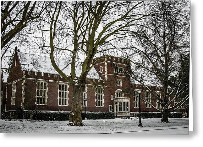 Snow On The Library Greeting Card by Rudy Owens