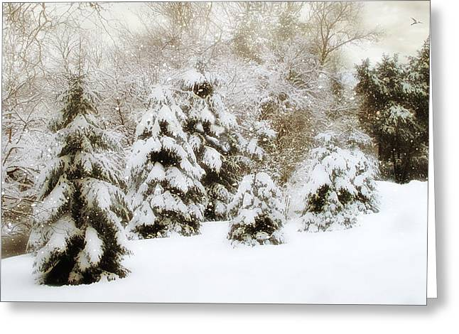 Snow Pines Greeting Card by Jessica Jenney