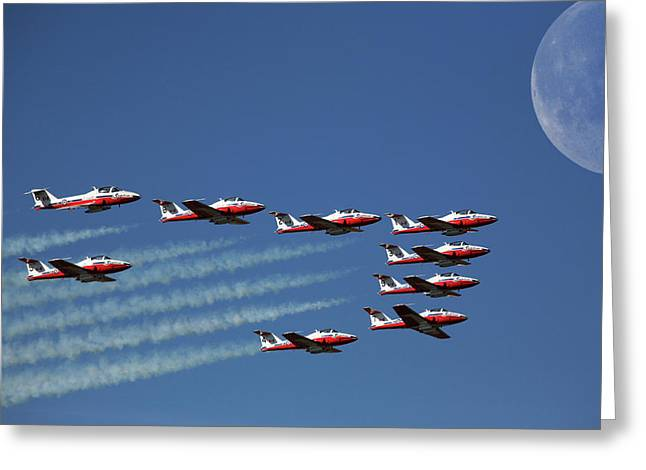 Snowbirds In Flight Greeting Card by Mark Duffy