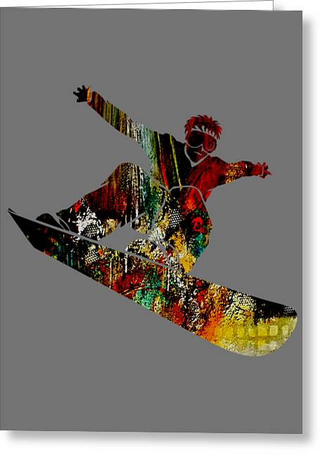 Snowboarder Collection Greeting Card by Marvin Blaine