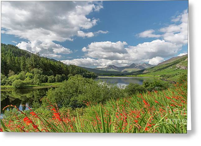 Snowdonia Lake Greeting Card by Adrian Evans