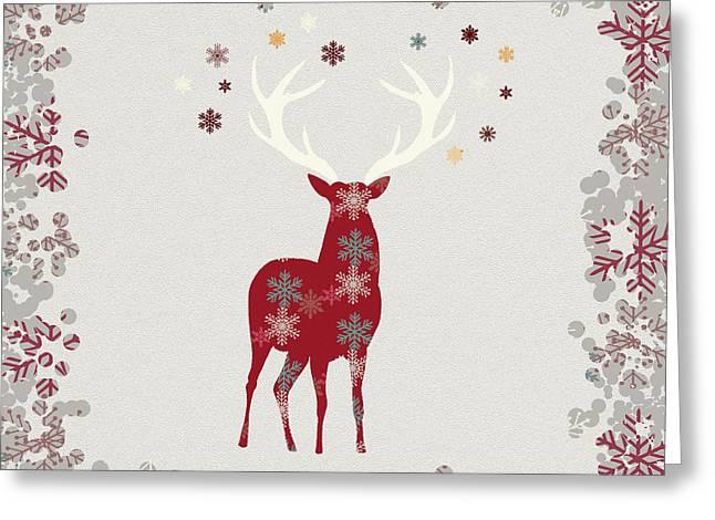Snowflake Christmas Stag Greeting Card